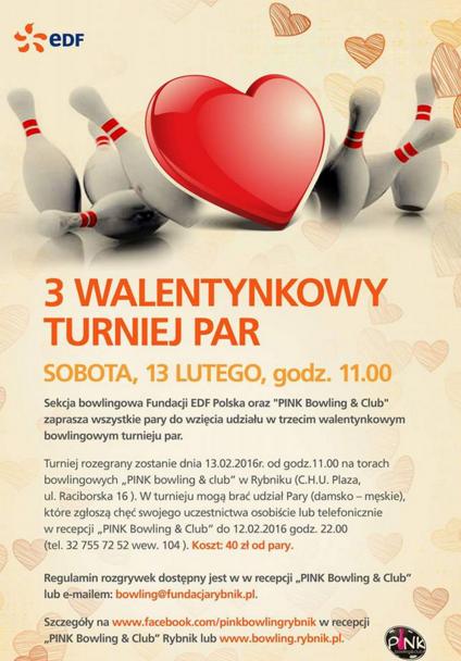Plakat Walentynkowy Turniej Par Rybnik 2016